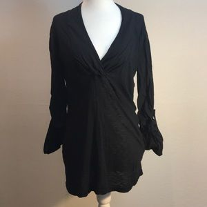 Splendid Black Mixed Media Tunic Top Size Small